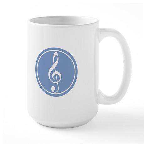 Treble Clef Blue Large Mug