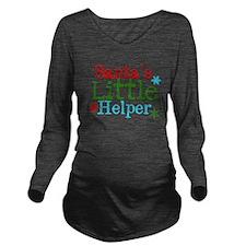 Santas Little Helper Long Sleeve Maternity T-Shirt