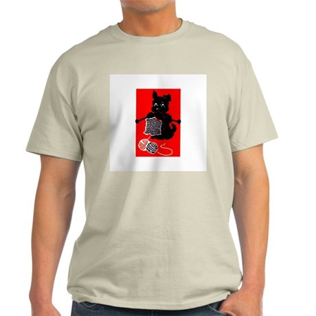 Knitting Retro Scottie Dog Ash Grey T-Shirt