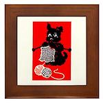 Knitting Retro Scottie Dog Framed Tile