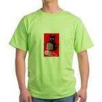 Knitting Retro Scottie Dog Green T-Shirt