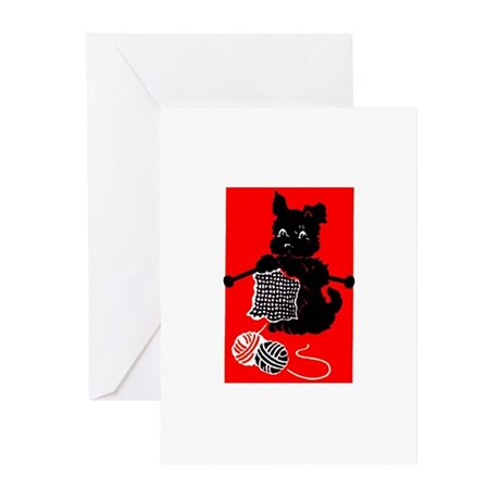 Knitting Retro Scottie Dog Greeting Cards (Package