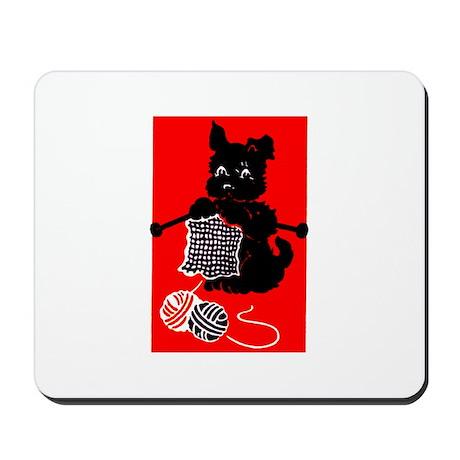 Knitting Retro Scottie Dog Mousepad