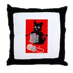 Knitting Retro Scottie Dog Throw Pillow