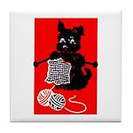 Knitting Retro Scottie Dog Tile Coaster