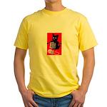 Knitting Retro Scottie Dog Yellow T-Shirt