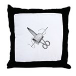 Vintage Sewing Notions Throw Pillow