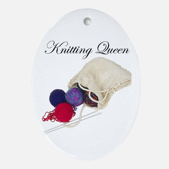 Knitting Queen Oval Ornament