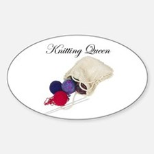 Knitting Queen Oval Decal