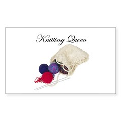 Knitting Queen Rectangle Decal