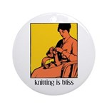 Knitting is Bliss Ornament (Round)