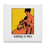 Knitting is Bliss Tile Coaster