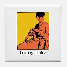 Knitting is Bliss Tile Coaster