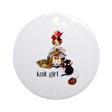 Knit Girl Ornament (Round)