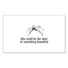Knitting - Something Beautiful Sticker (Rectangula