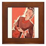Vintage Knitter Framed Tile