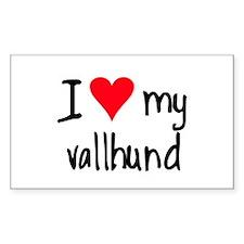 I LOVE MY Vallhund Rectangle Decal