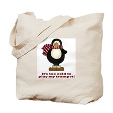 Funny Penguin Trumpet Tote Bag