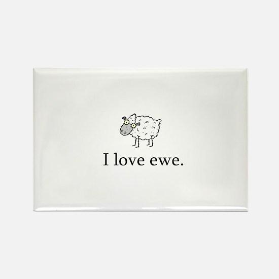 I Love Ewe Rectangle Magnet