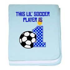 This Lil Soccer Player Is One baby blanket