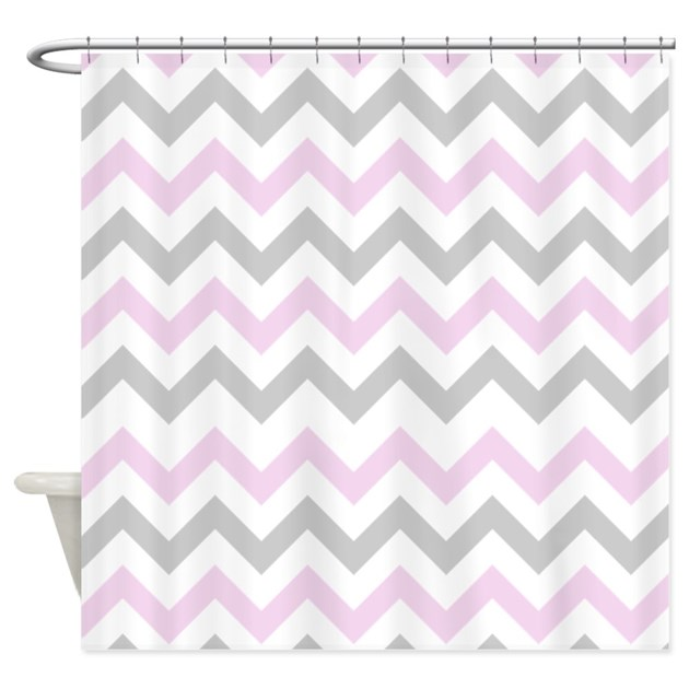 Pink And Grey Chevron Shower Curtain By Inspirationzstore