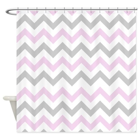 pink and grey chevron shower curtain by inspirationzstore. Black Bedroom Furniture Sets. Home Design Ideas