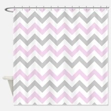 Pink and Grey Chevron Shower Curtain