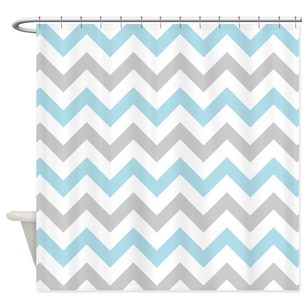 Blue And Grey Chevron Shower Curtain By Inspirationzstore
