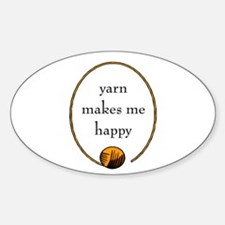 Yarn Makes Me Happy Oval Decal