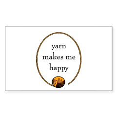Yarn Makes Me Happy Rectangle Decal
