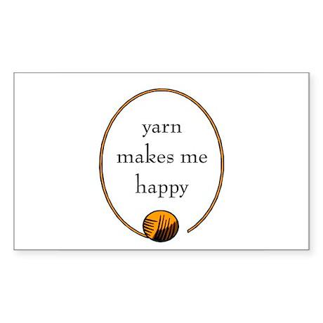 Yarn Makes Me Happy Rectangle Sticker