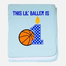 This Lil Baller Is One baby blanket