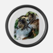 Rough Collie Art Large Wall Clock