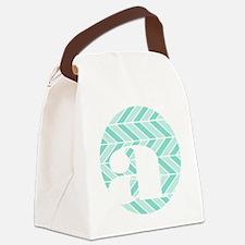 Teal Chevron Monogram-A Canvas Lunch Bag