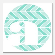 "Teal Chevron Monogram-A Square Car Magnet 3"" x 3"""