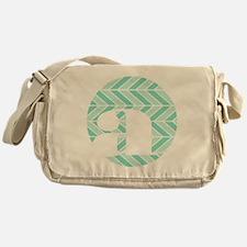 Teal Chevron Monogram-A Messenger Bag