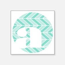 "Teal Chevron Monogram-A Square Sticker 3"" x 3"""