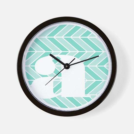 Teal Chevron Monogram-A Wall Clock