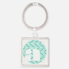 Teal Chevron Monogram-A Square Keychain