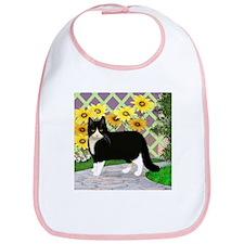 Tuxedo Cat in the Garden Bib