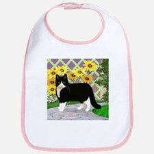 Tuxedo Cat in the Garden Bib