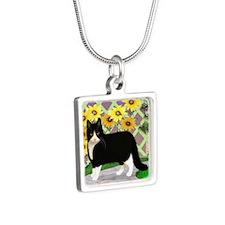 Tuxedo Cat in the Garden Silver Square Necklace