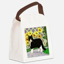 Tuxedo Cat in the Garden Canvas Lunch Bag