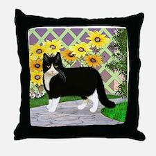 Tuxedo Cat in the Garden Throw Pillow