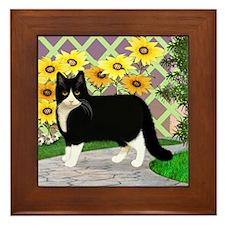 Tuxedo Cat in the Garden Framed Tile