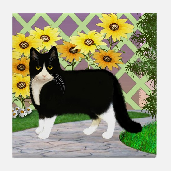Tuxedo Cat in the Garden Tile Coaster