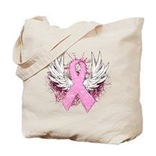 Winged Pink Ribbon Tote Bag