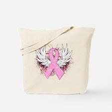 Winged Pink Ribbon Tote Bag