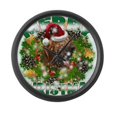 MerryChristmas Bloodhound Large Wall Clock