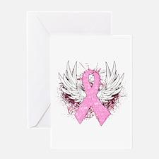 Winged Pink Ribbon Greeting Card